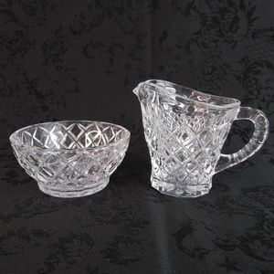 Clear Etched Glass Sugar Bowl and Creamer Set